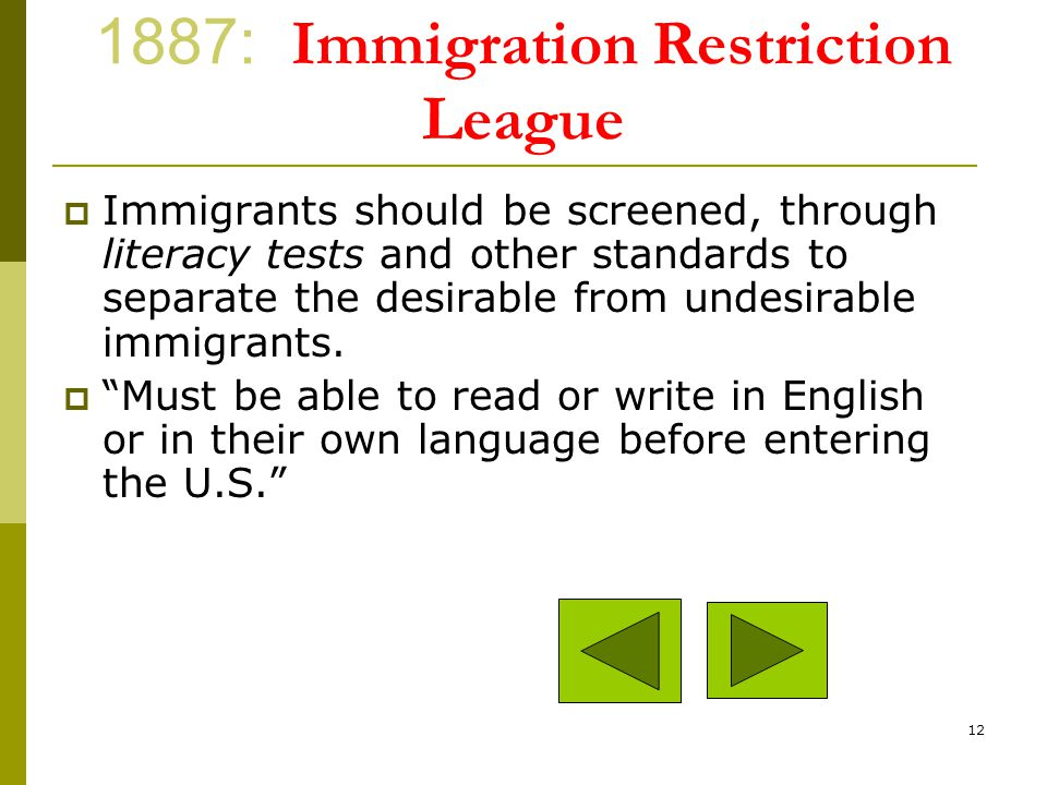 1887: Immigration Restriction League