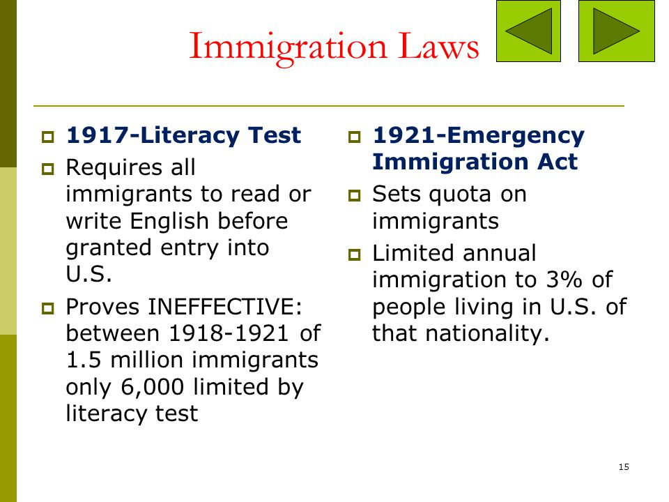 Immigration Laws 1917-Literacy Test