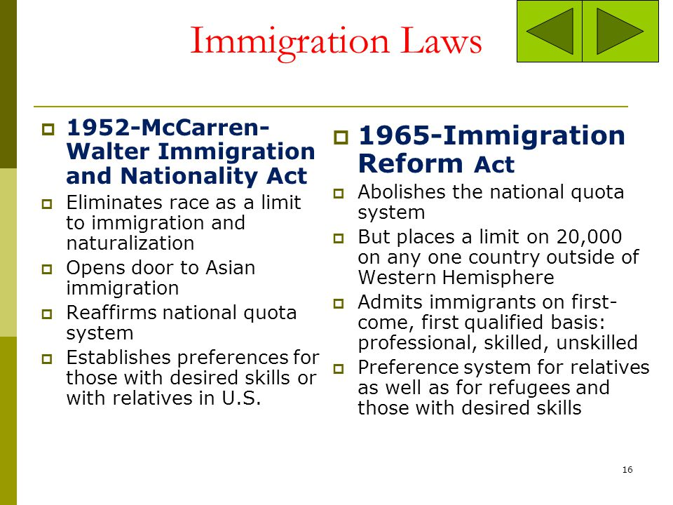 Immigration Laws 1965-Immigration Reform Act