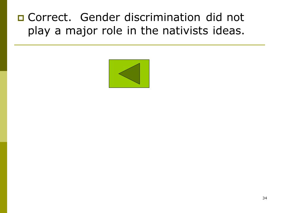 Correct. Gender discrimination did not play a major role in the nativists ideas.