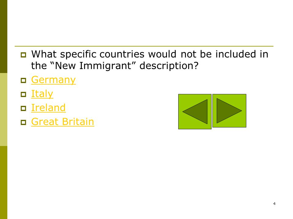 What specific countries would not be included in the New Immigrant description