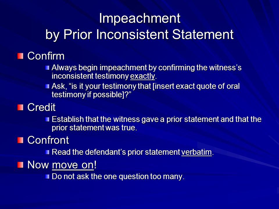 Impeachment by Prior Inconsistent Statement