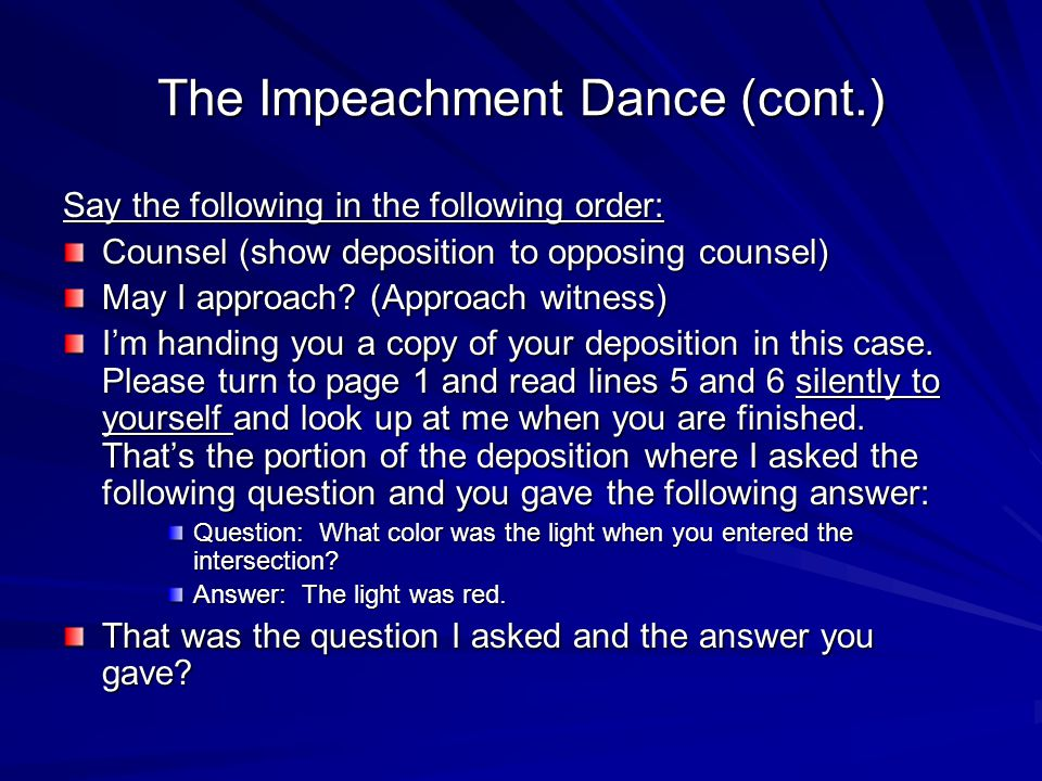 The Impeachment Dance (cont.)