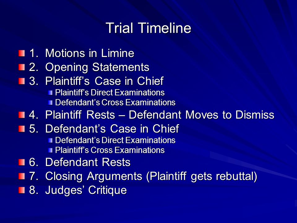 Trial Timeline 1. Motions in Limine 2. Opening Statements