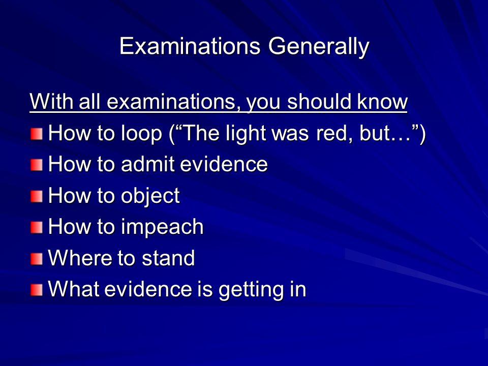 Examinations Generally