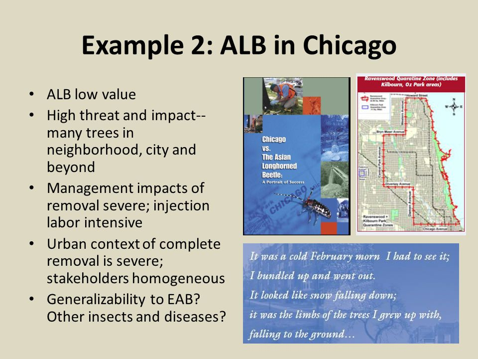 Example 2: ALB in Chicago