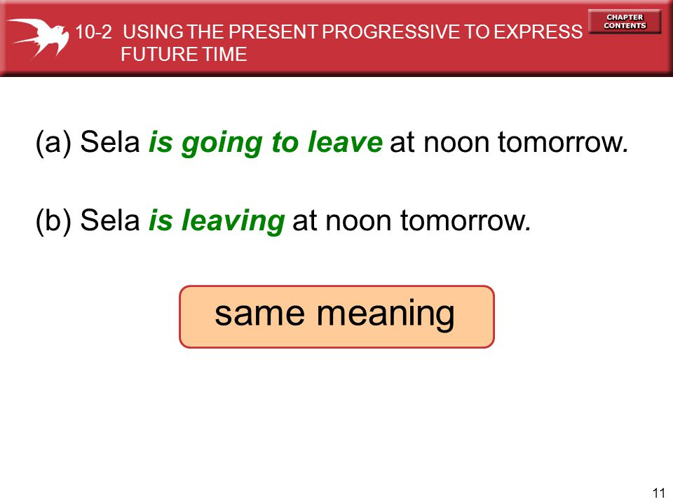 same meaning (a) Sela is going to leave at noon tomorrow.