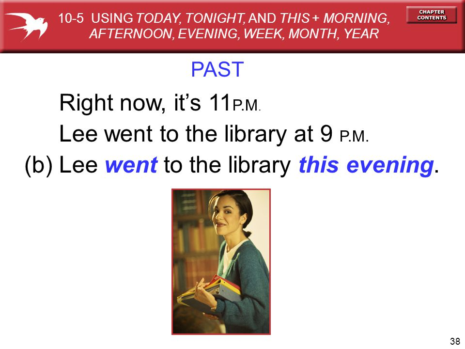 Lee went to the library at 9 P.M.