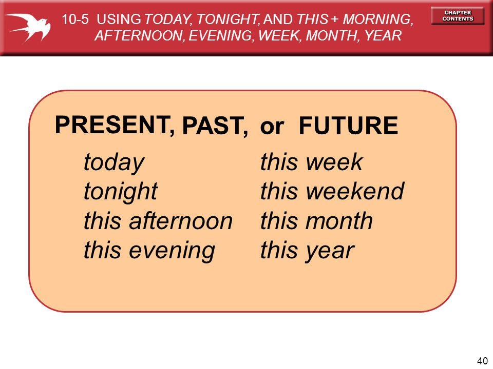 PRESENT, PAST, or FUTURE today tonight this afternoon this evening