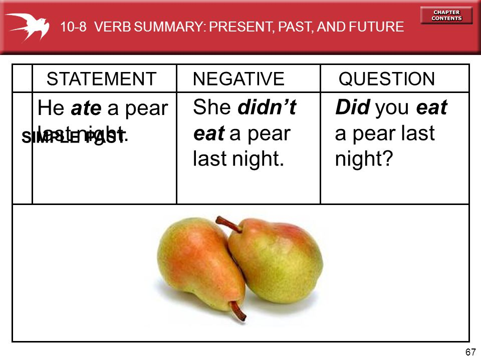 He ate a pear last night. She didn't eat a pear last night.