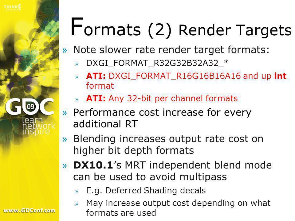 Formats (2) Render Targets