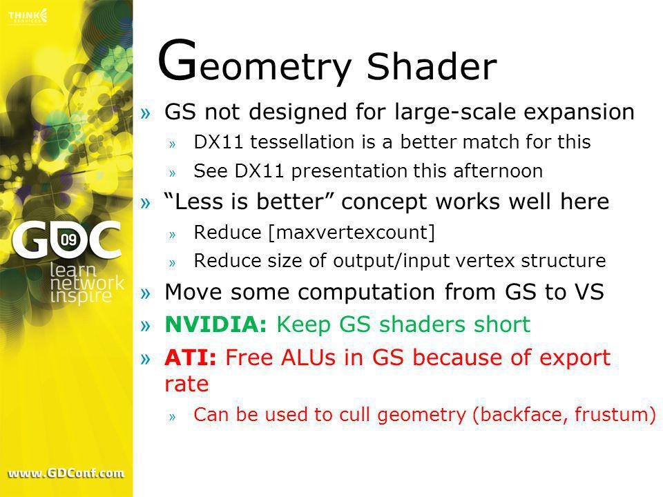 Geometry Shader GS not designed for large-scale expansion