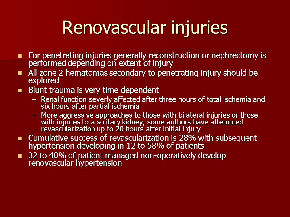 Renovascular injuries