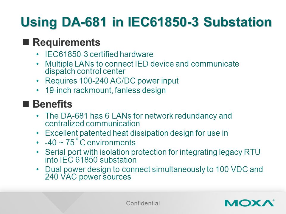Using DA-681 in IEC61850-3 Substation
