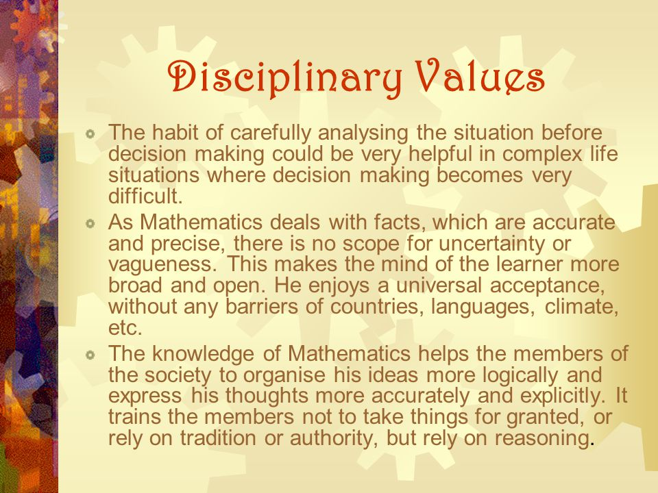 Disciplinary Values