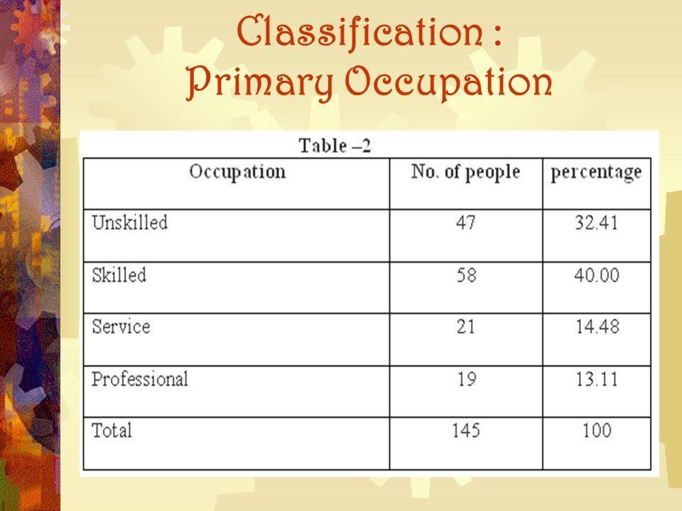 Classification : Primary Occupation