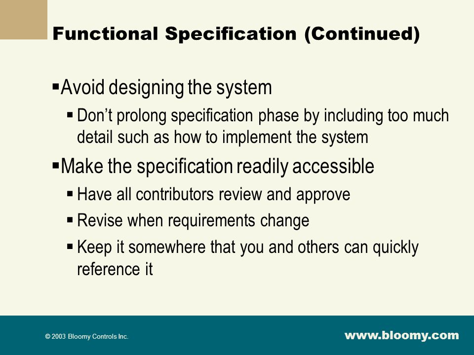 Functional Specification (Continued)