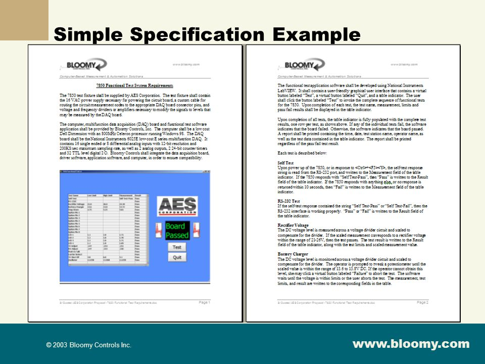 Simple Specification Example