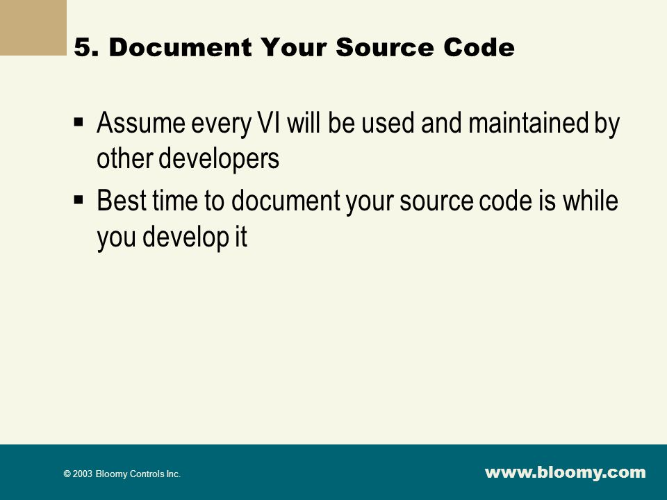 5. Document Your Source Code