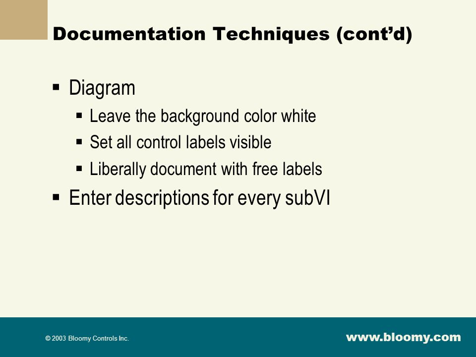 Documentation Techniques (cont'd)