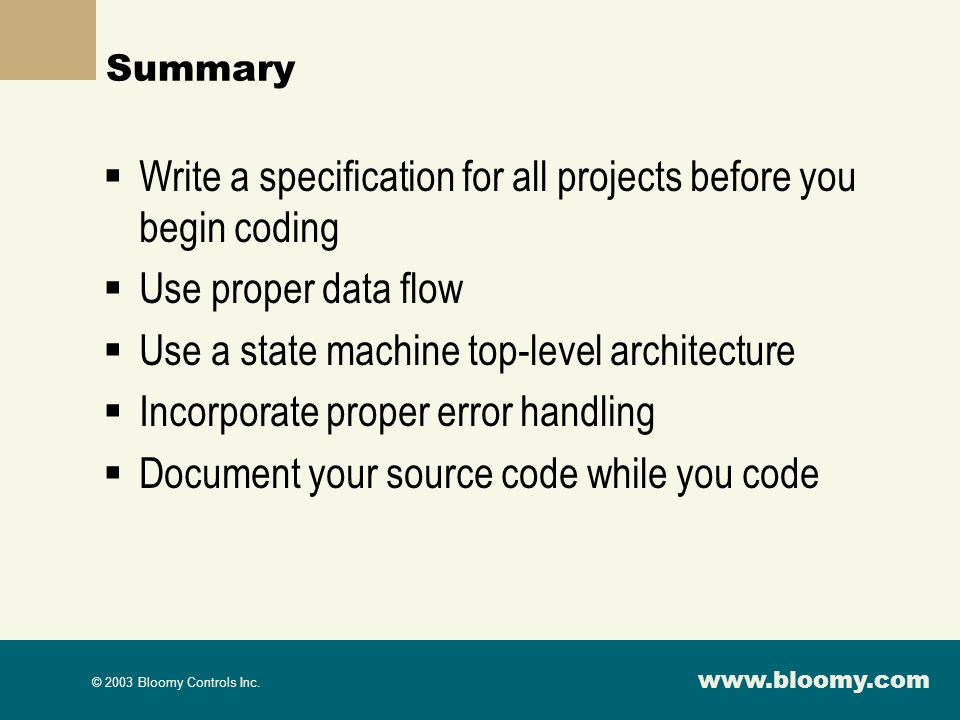Write a specification for all projects before you begin coding