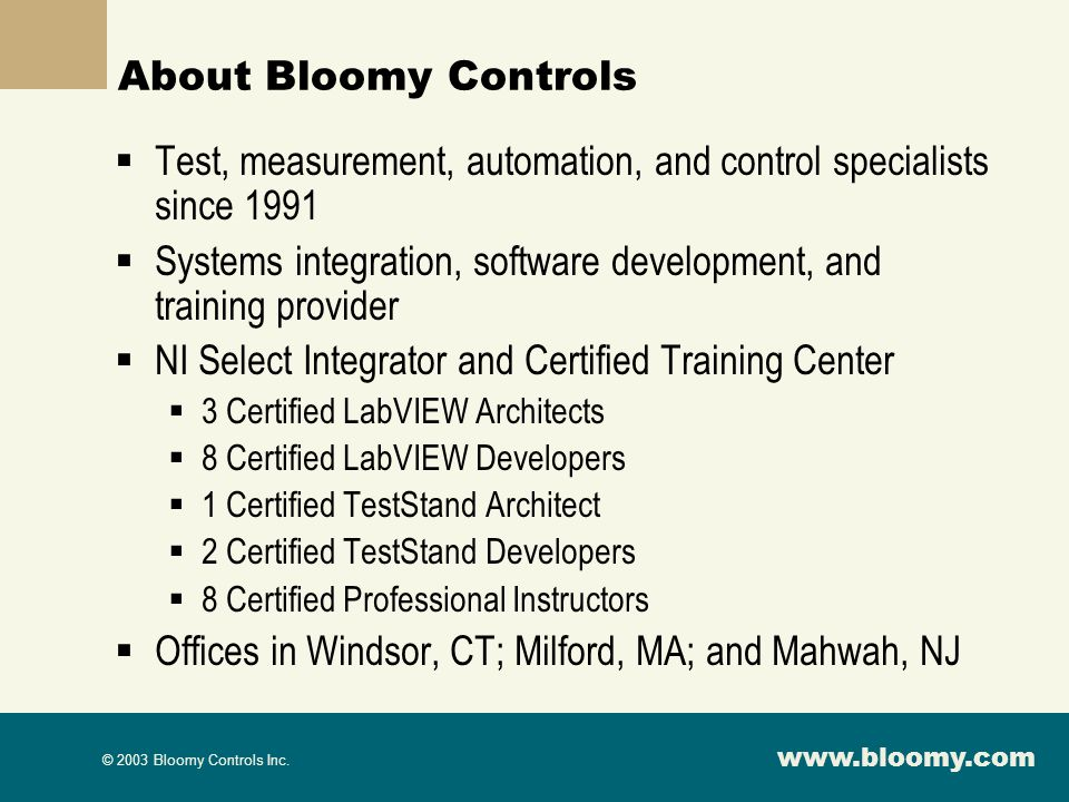 Test, measurement, automation, and control specialists since 1991