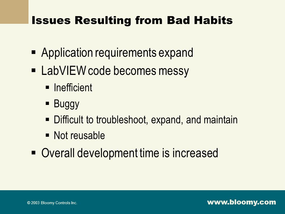 Issues Resulting from Bad Habits
