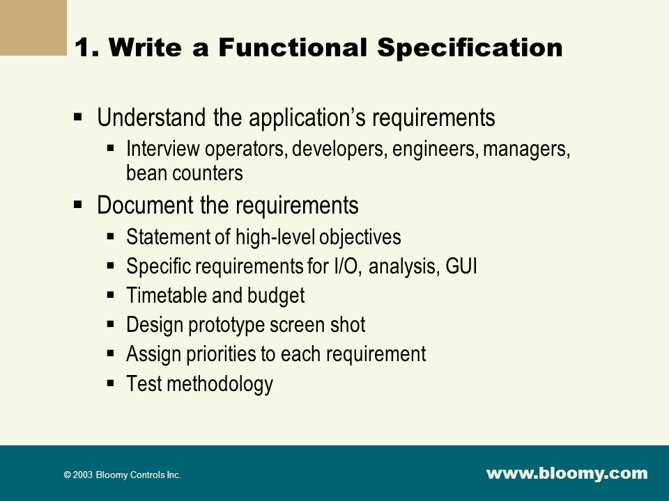 1. Write a Functional Specification