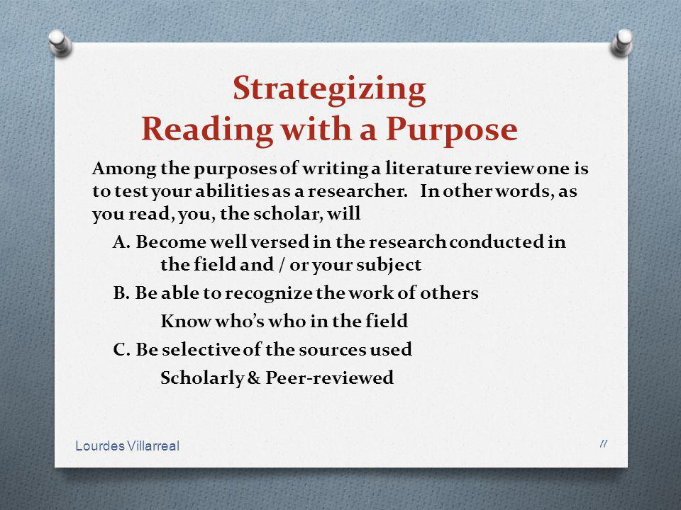 Strategizing Reading with a Purpose