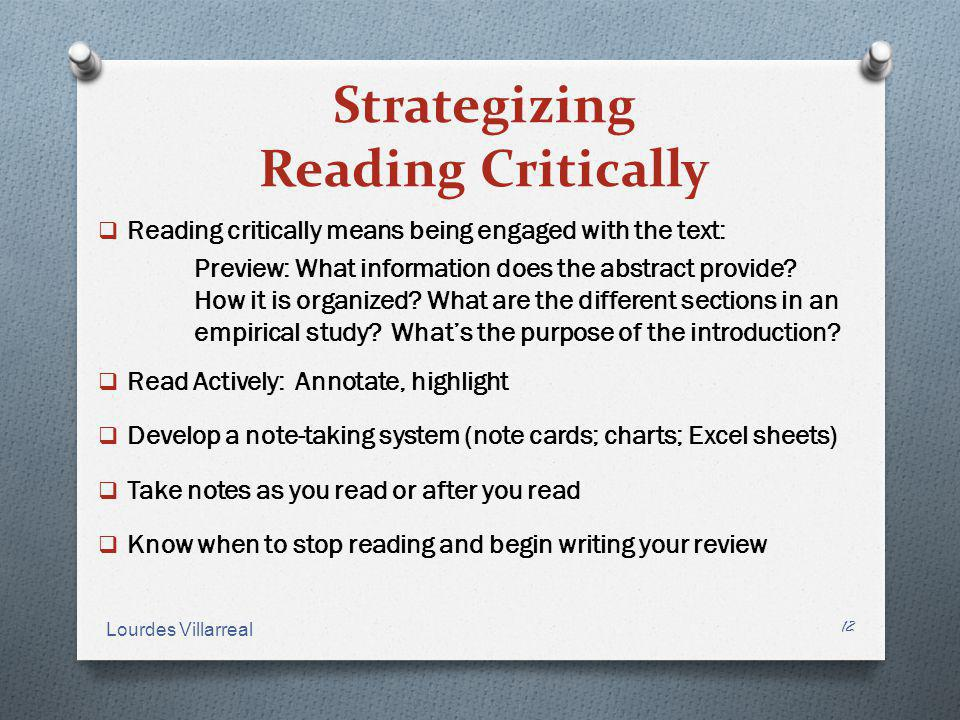 Strategizing Reading Critically