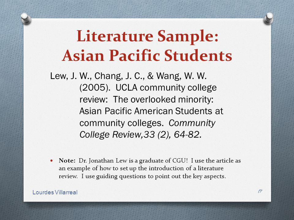 Literature Sample: Asian Pacific Students