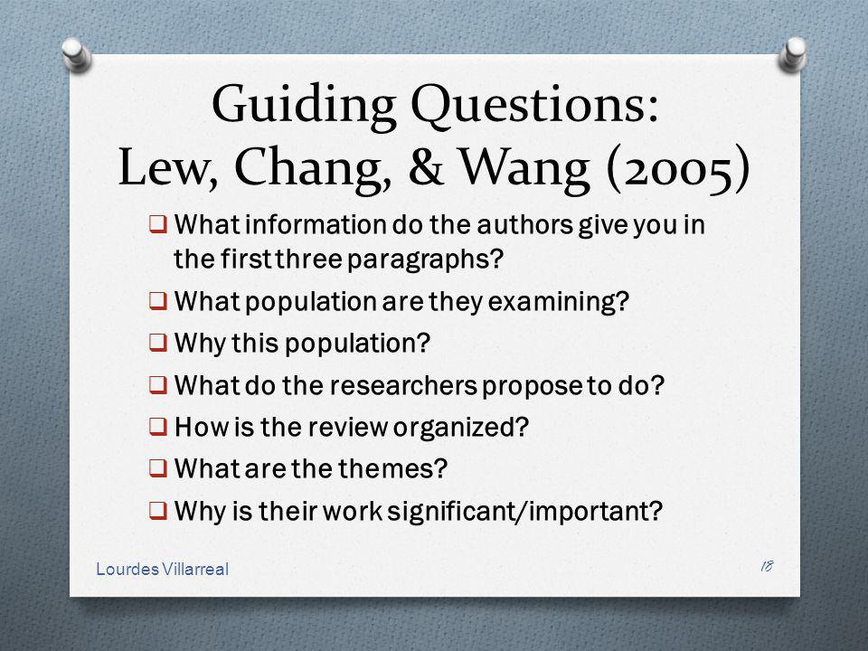 Guiding Questions: Lew, Chang, & Wang (2005)