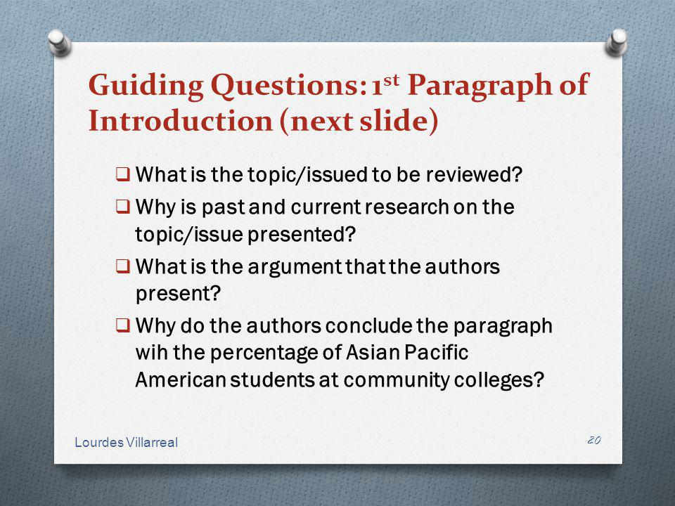 Guiding Questions: 1st Paragraph of Introduction (next slide)