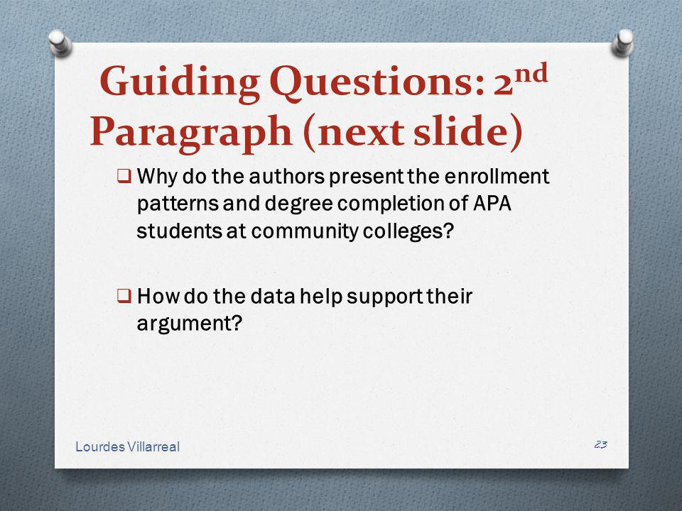 Guiding Questions: 2nd Paragraph (next slide)