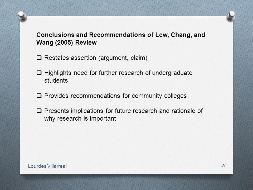Conclusions and Recommendations of Lew, Chang, and Wang (2005) Review