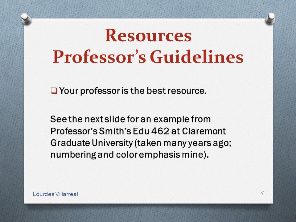 Resources Professor's Guidelines