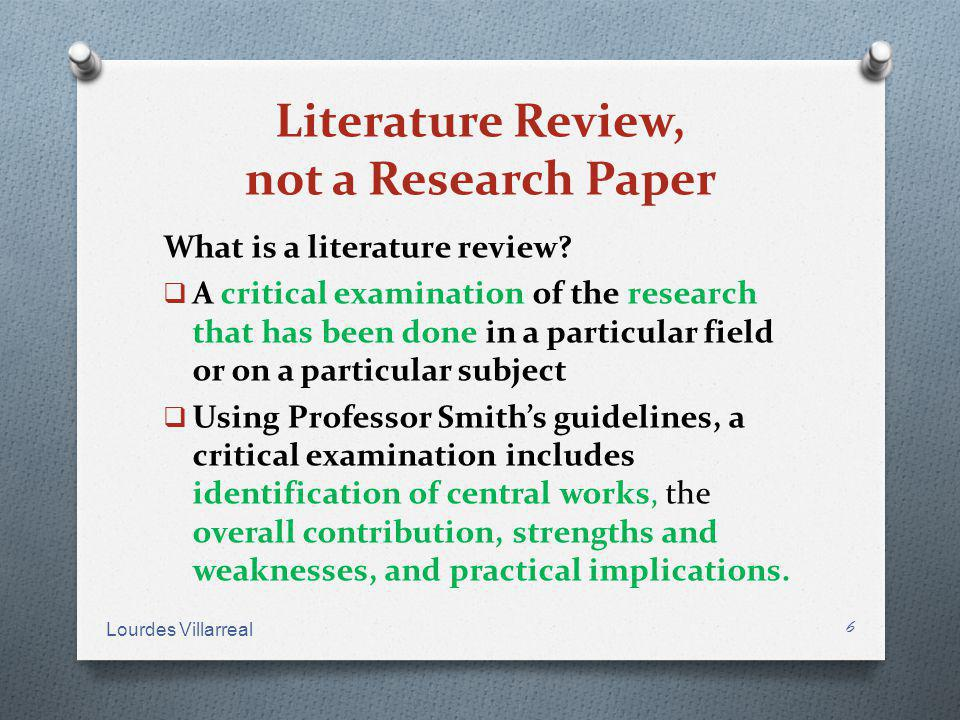 Literature Review, not a Research Paper