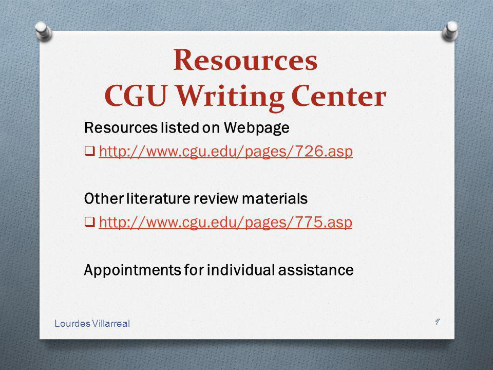 Resources CGU Writing Center