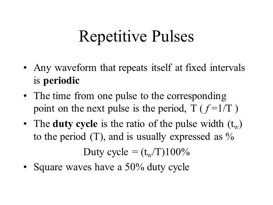 Repetitive Pulses Any waveform that repeats itself at fixed intervals is periodic.