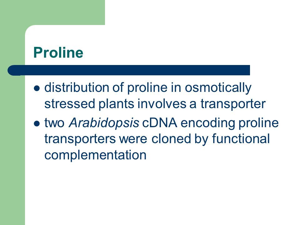Proline distribution of proline in osmotically stressed plants involves a transporter.
