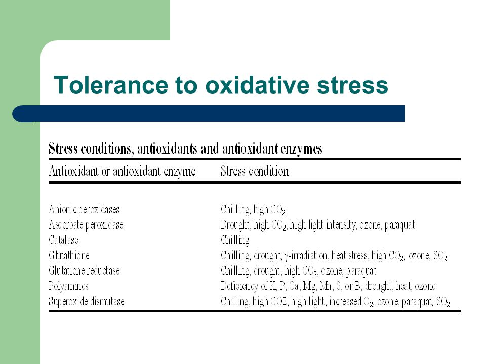Tolerance to oxidative stress