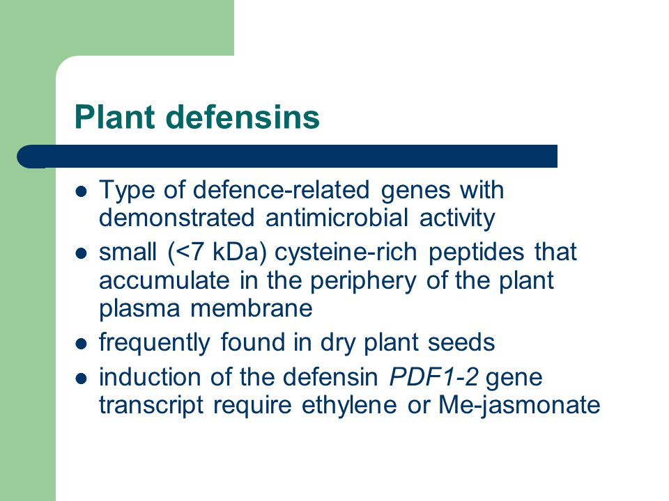 Plant defensins Type of defence-related genes with demonstrated antimicrobial activity.