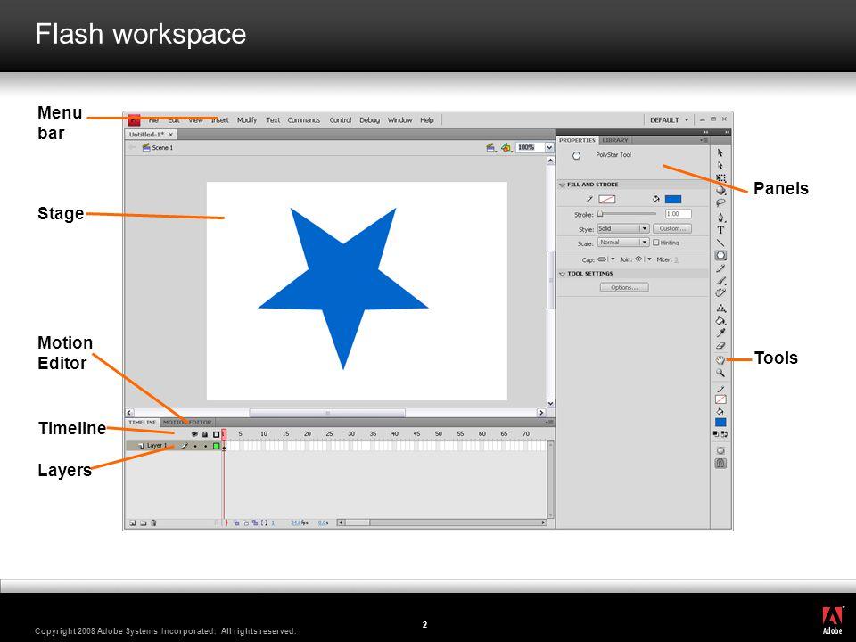 Flash workspace Menu bar Panels Stage Motion Editor Tools Timeline