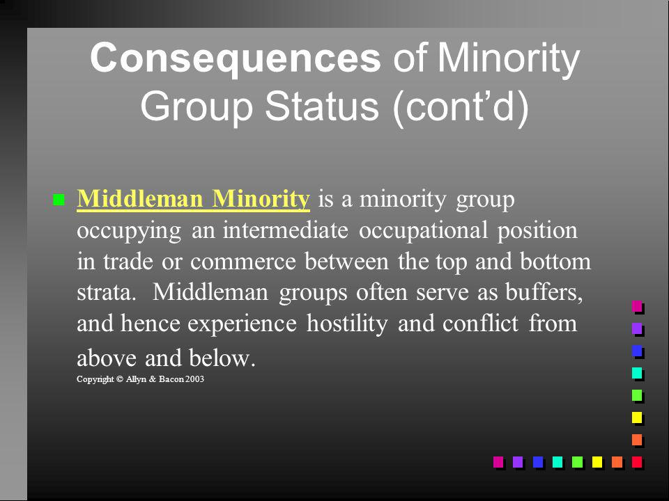 Consequences of Minority Group Status (cont'd)