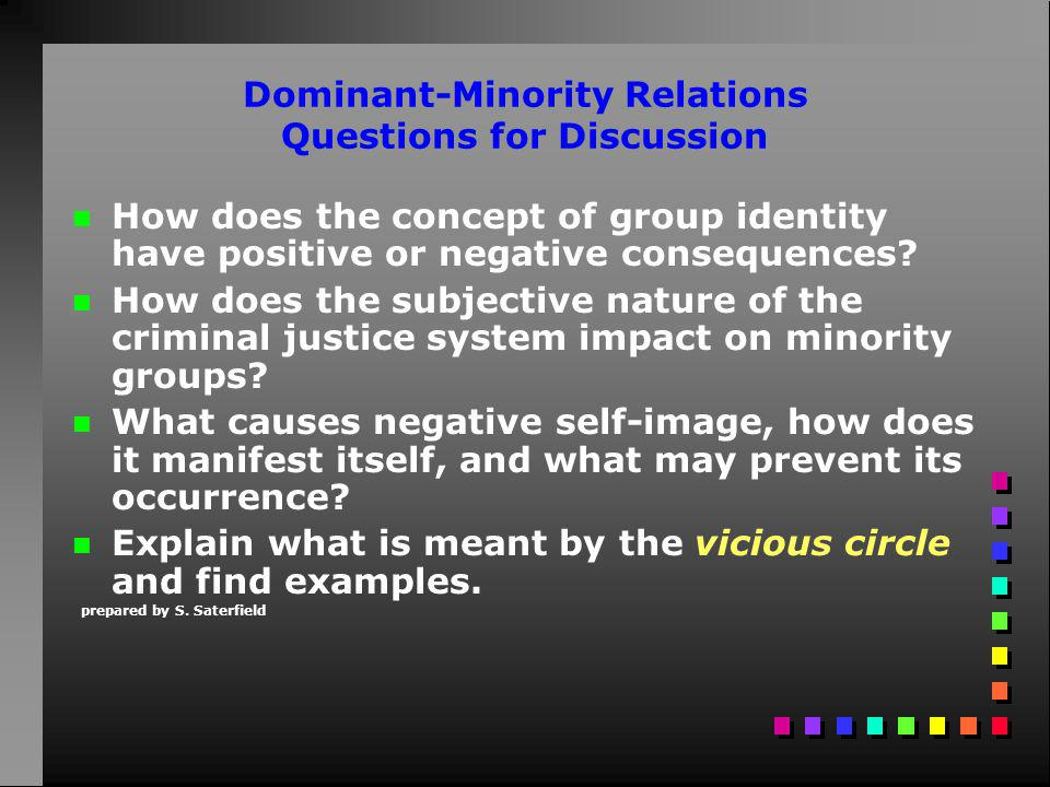 Dominant-Minority Relations Questions for Discussion