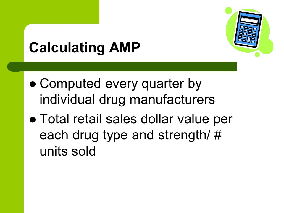 Calculating AMP Computed every quarter by individual drug manufacturers.