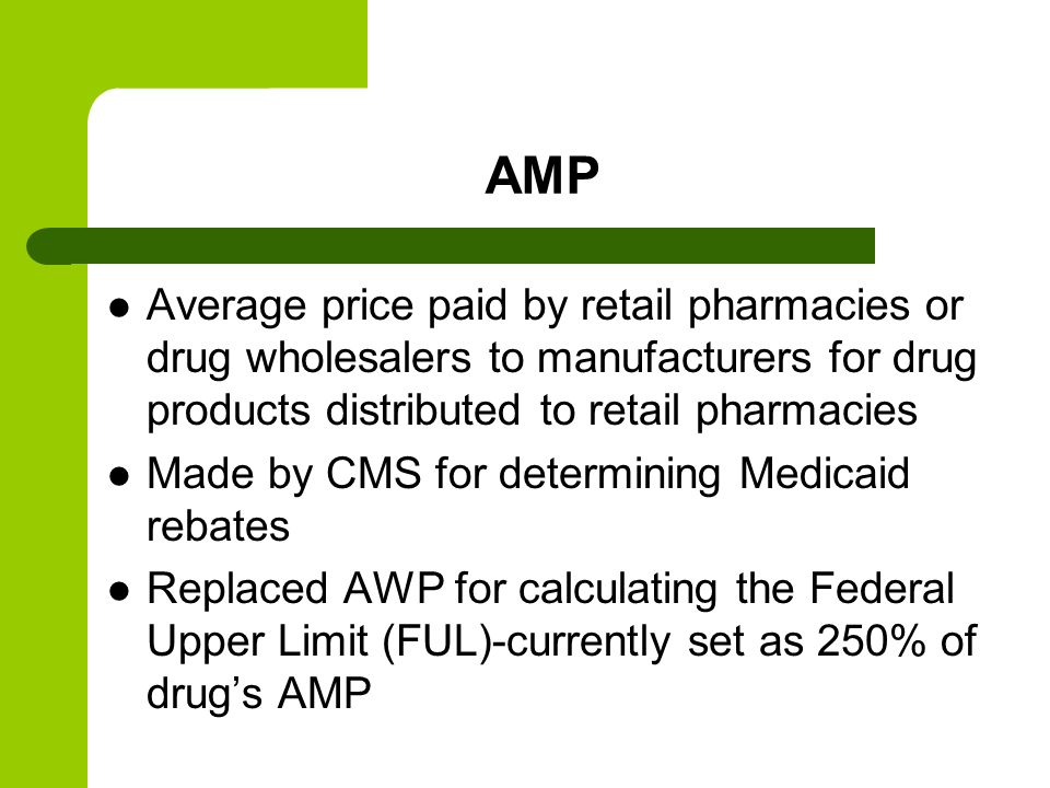 AMP Average price paid by retail pharmacies or drug wholesalers to manufacturers for drug products distributed to retail pharmacies.
