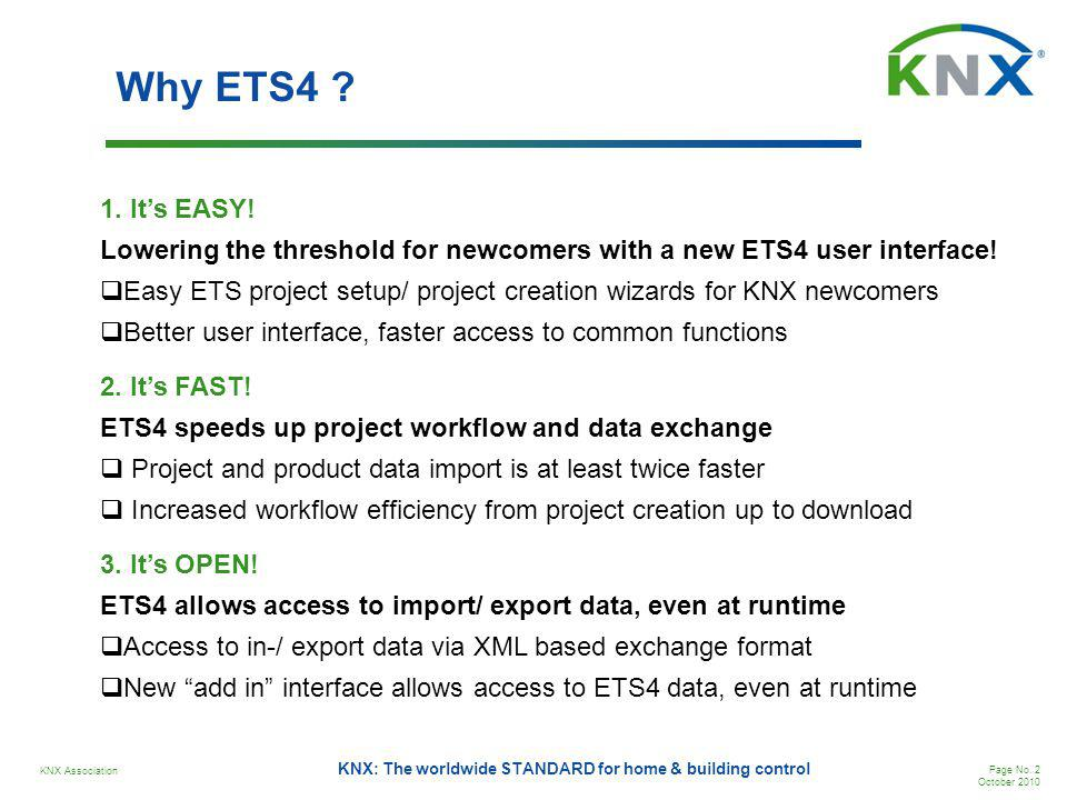 Why ETS4 1. It's EASY! Lowering the threshold for newcomers with a new ETS4 user interface!