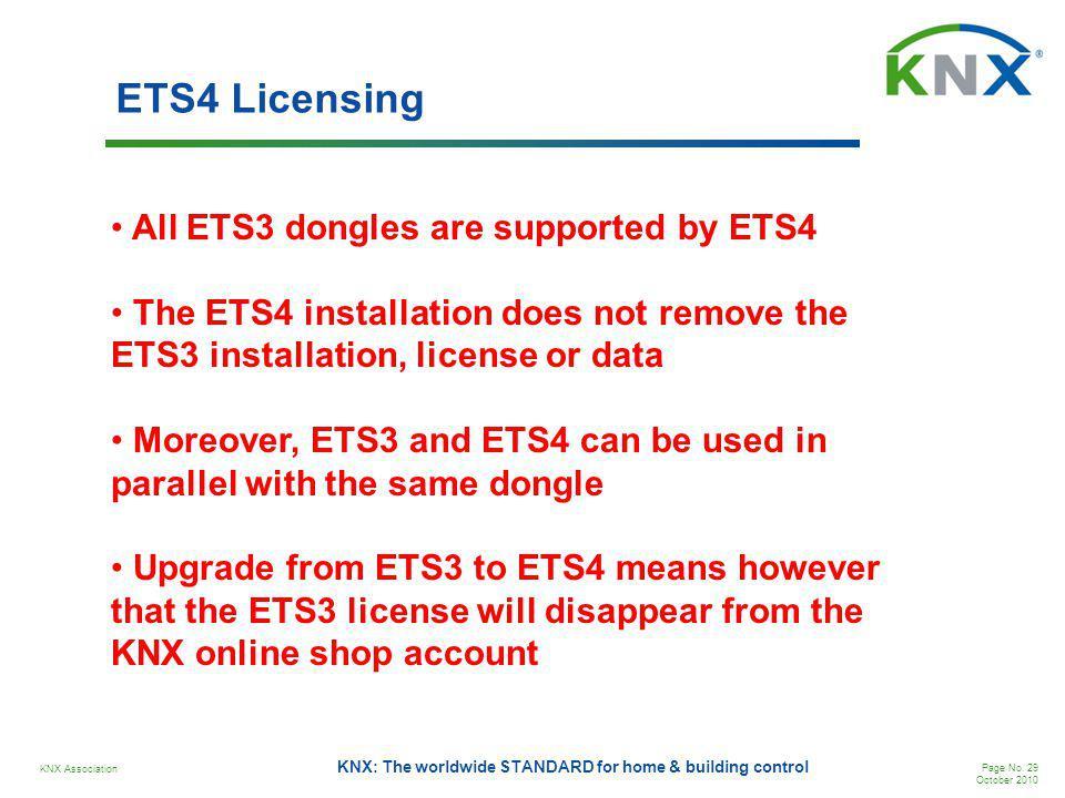 ETS4 Licensing All ETS3 dongles are supported by ETS4