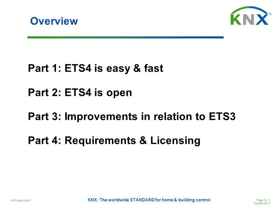 Overview Part 1: ETS4 is easy & fast Part 2: ETS4 is open Part 3: Improvements in relation to ETS3 Part 4: Requirements & Licensing